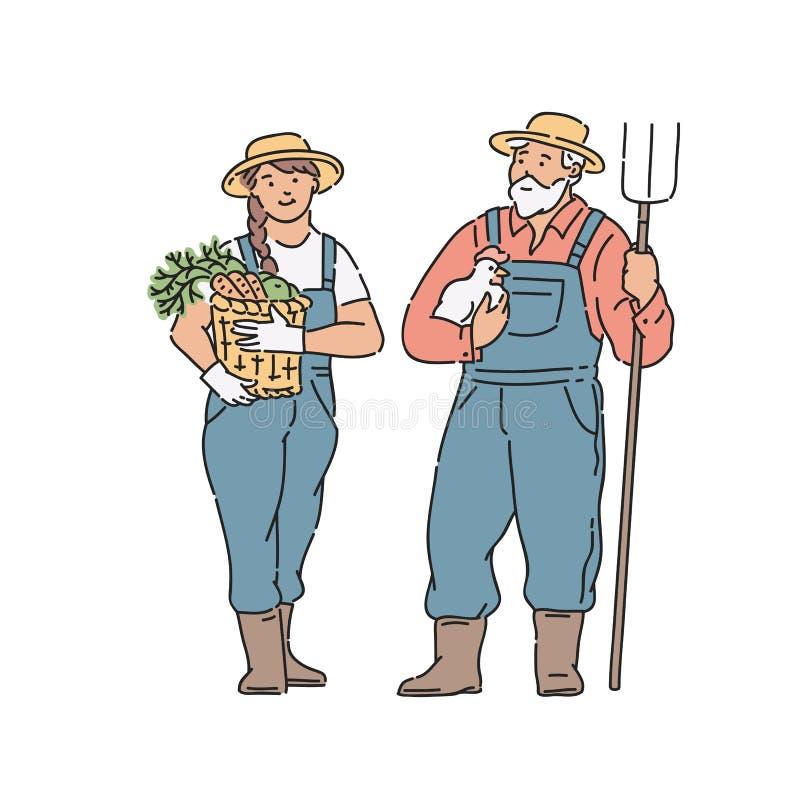 Γυναίκα και άνδρας της Farmer με το λαχανικό, το κοτόπουλο και το δίκρανο υπό εξέταση επίσης corel σύρετε το διάνυσμα απεικόνισης διανυσματική απεικόνιση