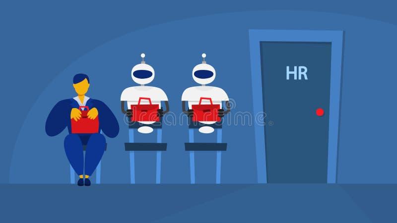 Γυναίκα και ρομπότ που περιμένουν στη σειρά αναμονής στη συνέντευξη διανυσματική απεικόνιση