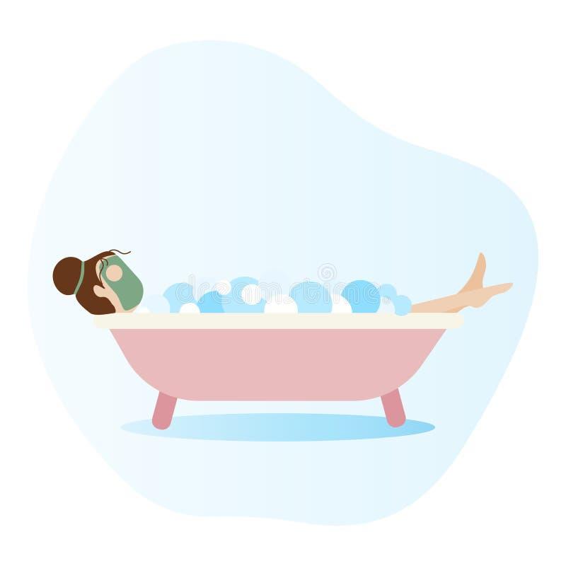 Γυναίκα που βρίσκεται στο σύνολο μπανιέρων του αφρού σαπουνιών λουτρό που παίρνει τη γυν& διανυσματική απεικόνιση
