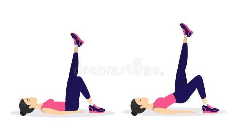Γυναίκα που κάνει μια γέφυρα glute Γλουτός workout διανυσματική απεικόνιση