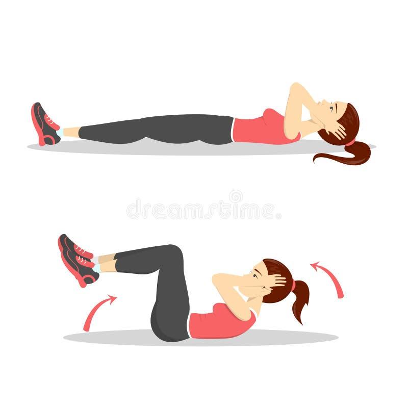 Γυναίκα που κάνει τις κρίσιμες στιγμές στη γυμναστική Έγκαυμα κοιλιών ελεύθερη απεικόνιση δικαιώματος