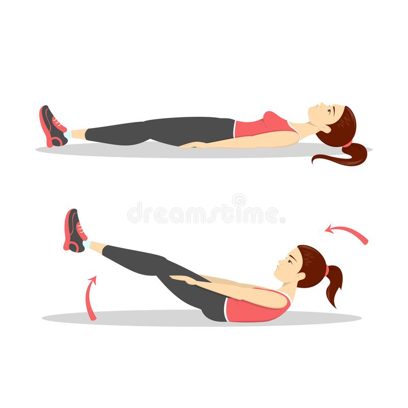 Γυναίκα που κάνει τις κρίσιμες στιγμές στη γυμναστική Έγκαυμα κοιλιών διανυσματική απεικόνιση
