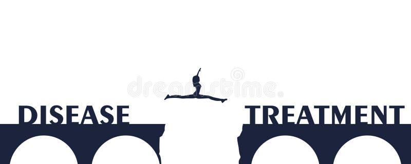 Γυναίκα που πηδά πέρα από ένα χάσμα στη γέφυρα απεικόνιση αποθεμάτων