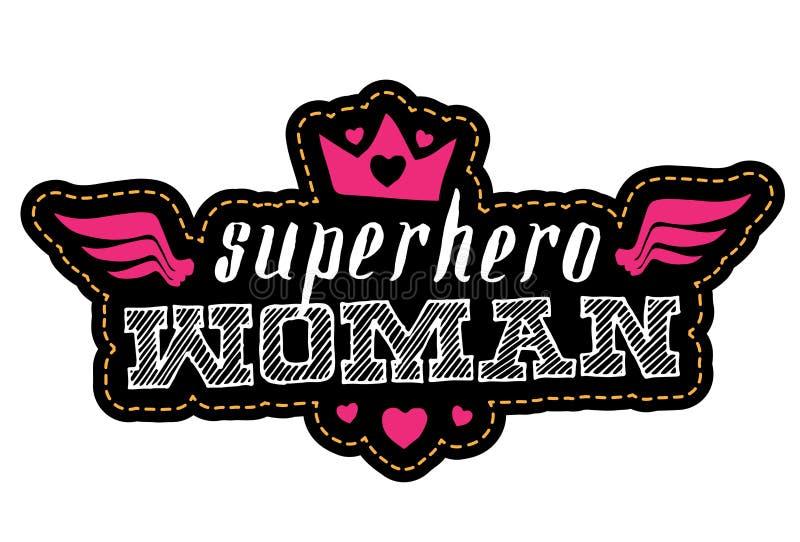 Γυναίκα Superhero Τυπωμένη ύλη για την μπλούζα με την εγγραφή μπάλωμα ελεύθερη απεικόνιση δικαιώματος