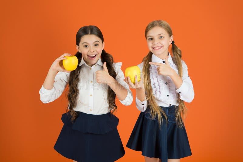 Είναι νόστιμοι Τα φρούτα είναι υψηλά στη βιταμίνη Οι χαριτωμένες μαθήτριες συμπαθούν τα μήλα Τα παιδιά σχολείου με το υγιές μήλο  στοκ εικόνες με δικαίωμα ελεύθερης χρήσης