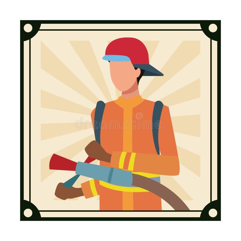 Είδωλο εργασιών και επαγγελμάτων πυροσβεστών διανυσματική απεικόνιση