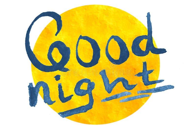 Εγγραφή καληνύχτας στο κίτρινο φεγγάρι διανυσματική απεικόνιση