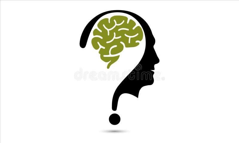 Εγκέφαλος με το ερωτηματικό και το ανθρώπινο διανυσματικό εικονίδιο ελεύθερη απεικόνιση δικαιώματος