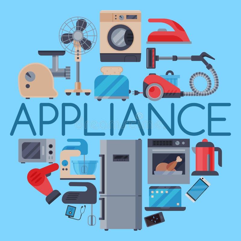 Εγχώριες συσκευές γύρω από τη διανυσματική απεικόνιση σχεδίων Σύνολο φούρνου μικροκυμάτων τεχνικών οικιακών κουζινών, πλυντήριο π απεικόνιση αποθεμάτων