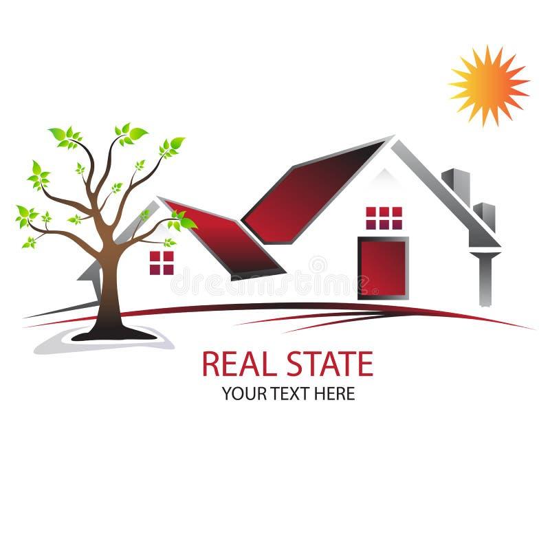 Εγχώριο λογότυπο σπιτιών Κόκκινο σπίτι ήλιος & πράσινο δέντρο απεικόνιση αποθεμάτων