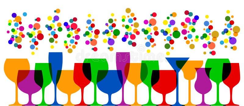 Εικονίδια γυαλιών φραγμών καθορισμένα Γυαλί κρασιού, φλυτζάνια, διάνυσμα κουπών †« διανυσματική απεικόνιση