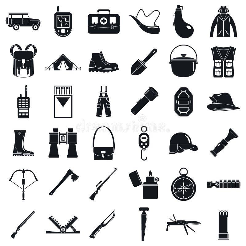 Εικονίδια εξοπλισμού κυνηγιού στρατοπέδευσης καθορισμένα, απλό ύφος διανυσματική απεικόνιση