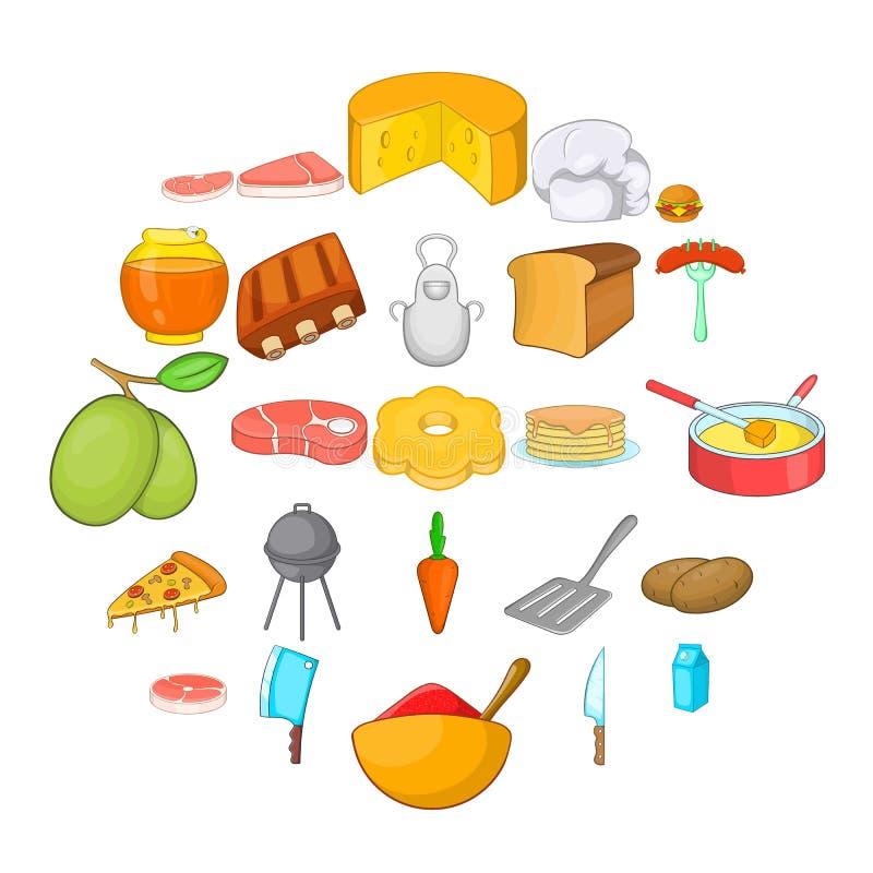 Εικονίδια κρέατος καθορισμένα, ύφος κινούμενων σχεδίων διανυσματική απεικόνιση