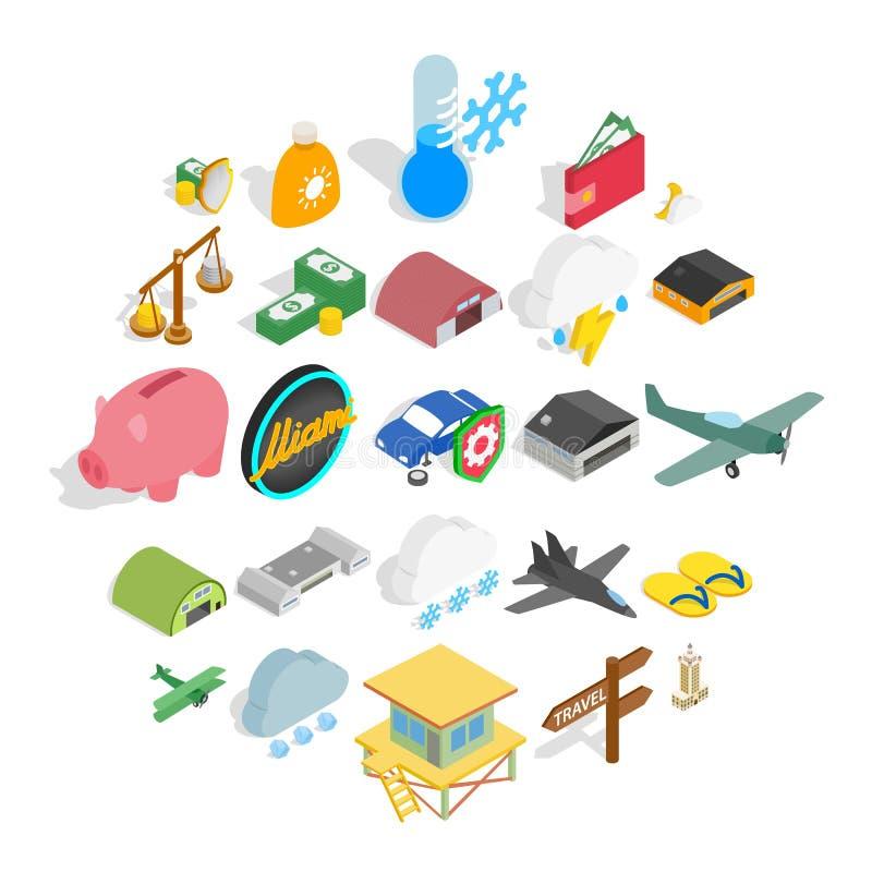 Εικονίδια οχημάτων πτήσης καθορισμένα, isometric ύφος ελεύθερη απεικόνιση δικαιώματος