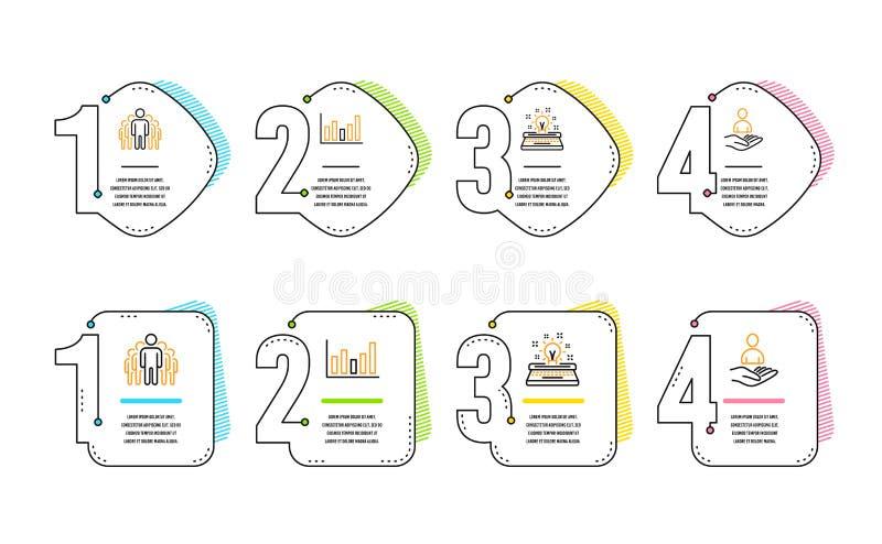Εικονίδια διαγραμμάτων, ομάδας και γραφομηχανών στηλών καθορισμένα Σημάδι στρατολόγησης Οικονομική γραφική παράσταση, διευθυντές, απεικόνιση αποθεμάτων