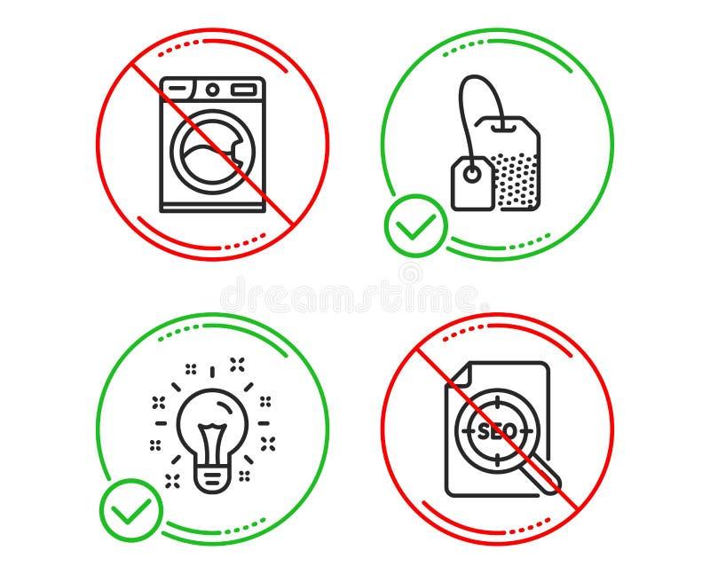 Εικονίδια τσαντών ιδέας, πλυντηρίων και τσαγιού καθορισμένα Σημάδι αρχείων Seo Η δημιουργικότητα, υπηρεσία πλυντηρίων, παρασκευάζ ελεύθερη απεικόνιση δικαιώματος