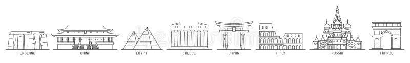 Εικονίδια παγκόσμιων μνημείων απεικόνιση αποθεμάτων