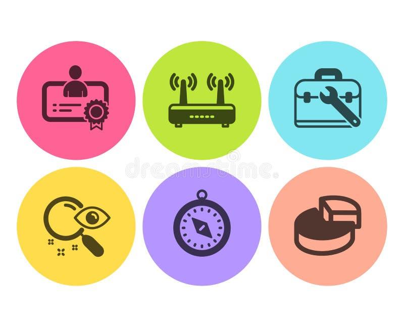 Εικονίδια πυξίδων πιστοποιητικών, Wifi και ταξιδιού καθορισμένα Αναζήτηση, περίπτωση εργαλείων και σημάδια διαγραμμάτων πιτών διά διανυσματική απεικόνιση