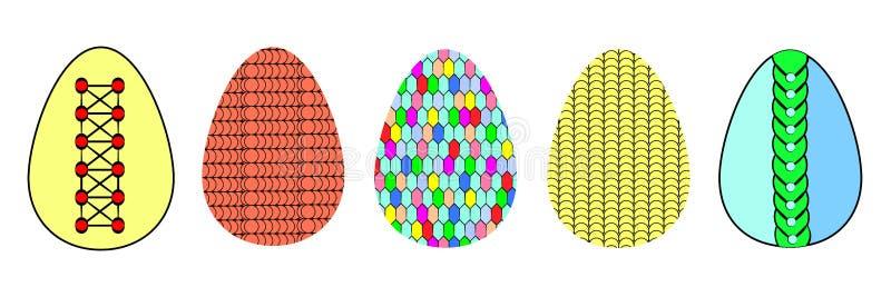 Εικονίδια Tylish των τυποποιημένων ζωηρόχρωμων αυγών Πάσχας ελεύθερη απεικόνιση δικαιώματος