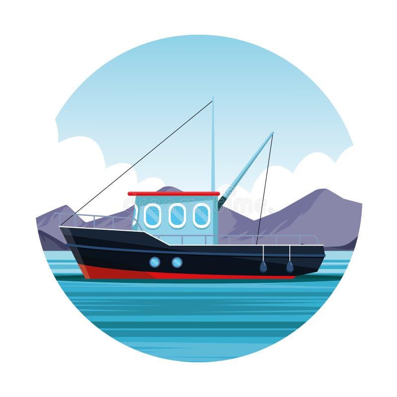 Εικονίδιο αλιευτικών σκαφών διανυσματική απεικόνιση