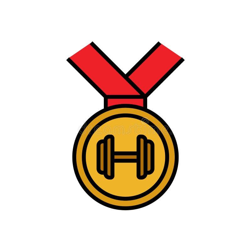 Εικονίδιο ανταμοιβής μεταλλίων Bodybuilder με το σύμβολο αλτήρων για η απεικόνιση ανταγωνισμού απλός γραφικός ελεύθερη απεικόνιση δικαιώματος