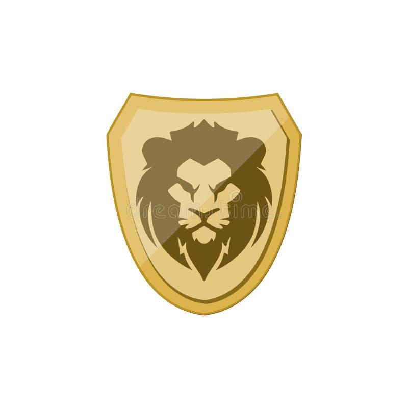 Εικονίδιο ασπίδων λιονταριών, χρυσό λογότυπο πολεμιστών απεικόνιση αποθεμάτων