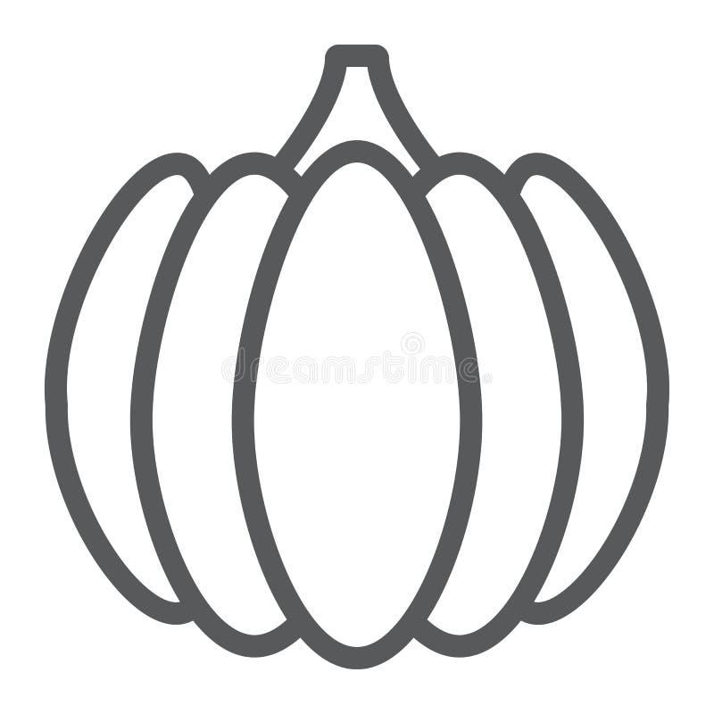Εικονίδιο γραμμών κολοκύθας, λαχανικό και αγρόκτημα, σημάδι κολοκυθών, διανυσματική γραφική παράσταση, ένα γραμμικό σχέδιο σε ένα απεικόνιση αποθεμάτων