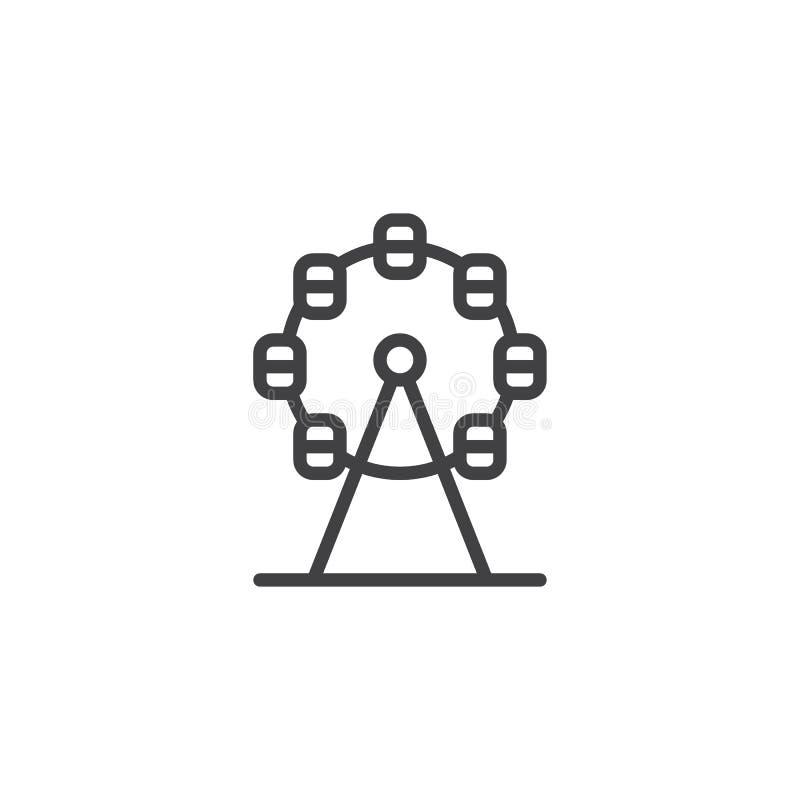 Εικονίδιο γραμμών ροδών Ferris διανυσματική απεικόνιση