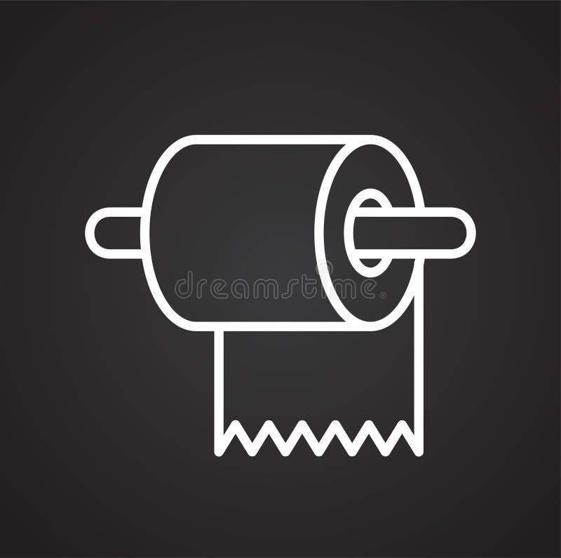 Εικονίδιο γραμμών τουαλετών στο μαύρο υπόβαθρο για το γραφικό και σχέδιο Ιστού, σύγχρονο απλό διανυσματικό σημάδι μπλε έννοια Δια ελεύθερη απεικόνιση δικαιώματος