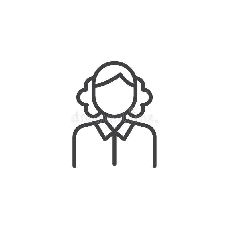 Εικονίδιο γραμμών υπηρετριών γυναικών ελεύθερη απεικόνιση δικαιώματος