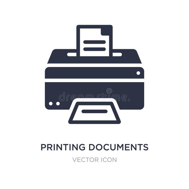 εικονίδιο εγγράφων εκτύπωσης στο άσπρο υπόβαθρο Απλή απεικόνιση στοιχείων από την έννοια επιχειρήσεων και χρηματοδότησης ελεύθερη απεικόνιση δικαιώματος
