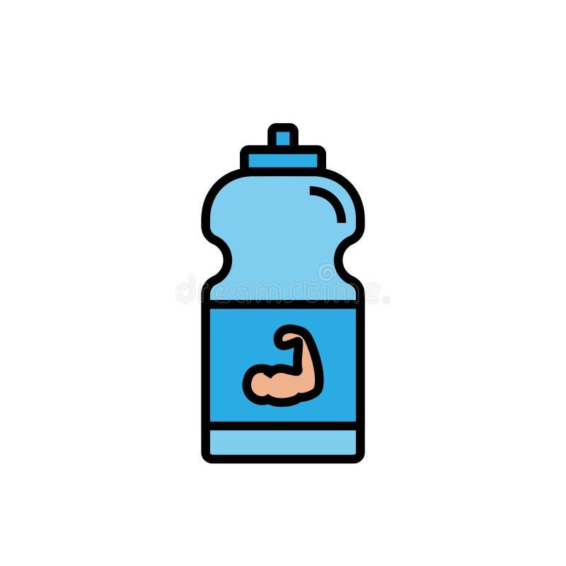 Εικονίδιο ενεργειακών ποτών ικανότητας μπουκάλι αθλητικών ποτών με την απεικόνιση μυών χεριών απλός γραφικός διανυσματική απεικόνιση