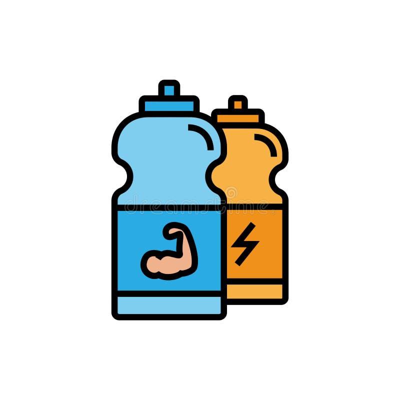 Εικονίδιο ενεργειακών ποτών ικανότητας μπουκάλι αθλητικών ποτών με την απεικόνιση χεριών μυών απλός γραφικός διανυσματική απεικόνιση