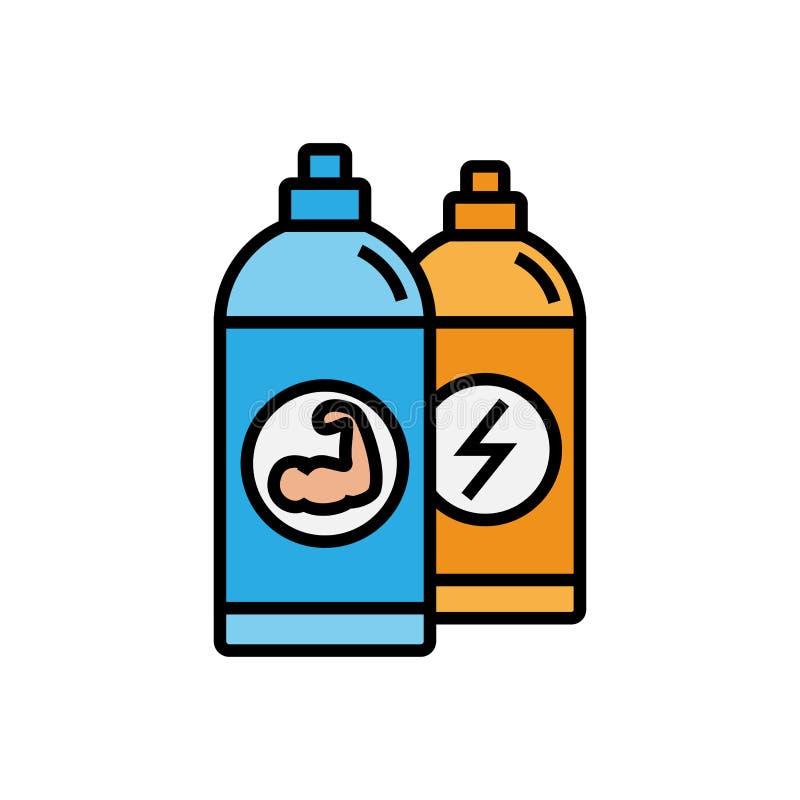 Εικονίδιο ενεργειακών ποτών ικανότητας μπουκάλι αθλητικών ποτών με την απεικόνιση χεριών μυών απλός γραφικός απεικόνιση αποθεμάτων