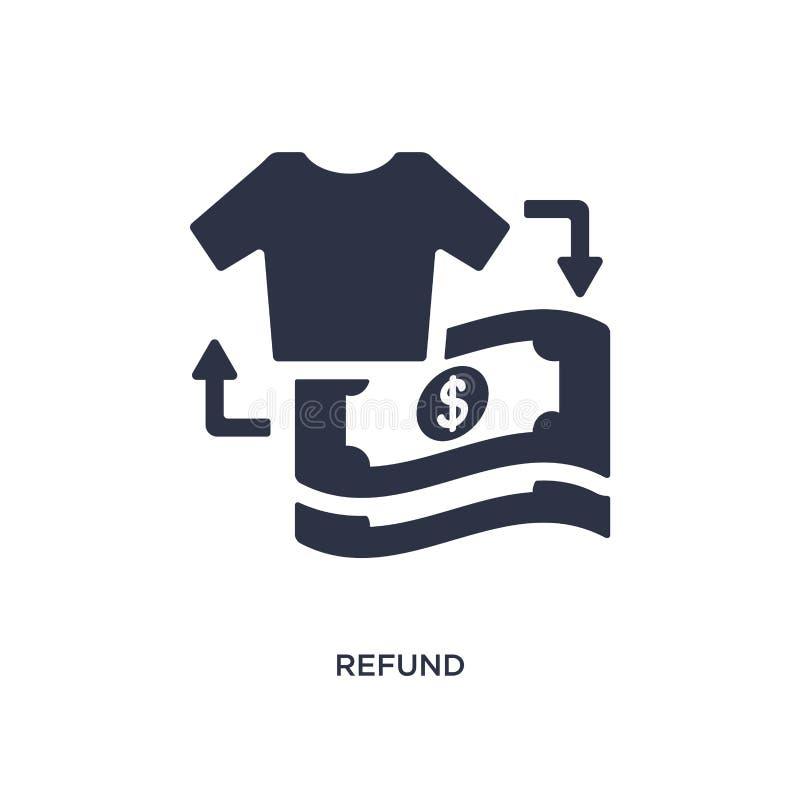 εικονίδιο επιστροφής ποσού στο άσπρο υπόβαθρο Απλή απεικόνιση στοιχείων από την έννοια μόδας και εμπορίου ελεύθερη απεικόνιση δικαιώματος