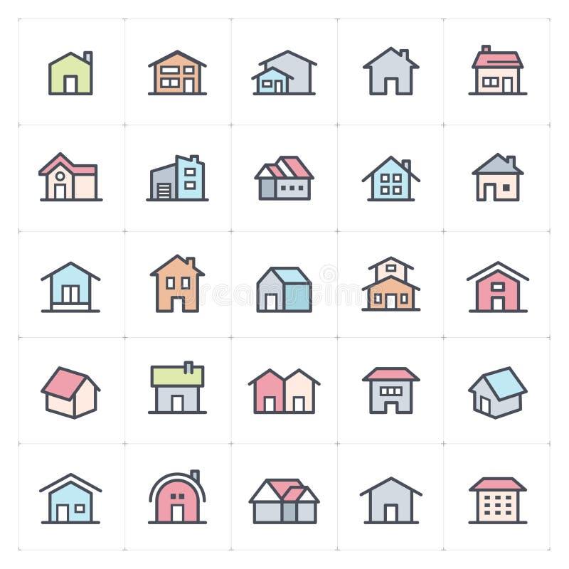 Εικονίδιο καθορισμένο - εγχώριο εικονίδιο πλήρες διάνυσμα χρώματος απεικόνιση αποθεμάτων