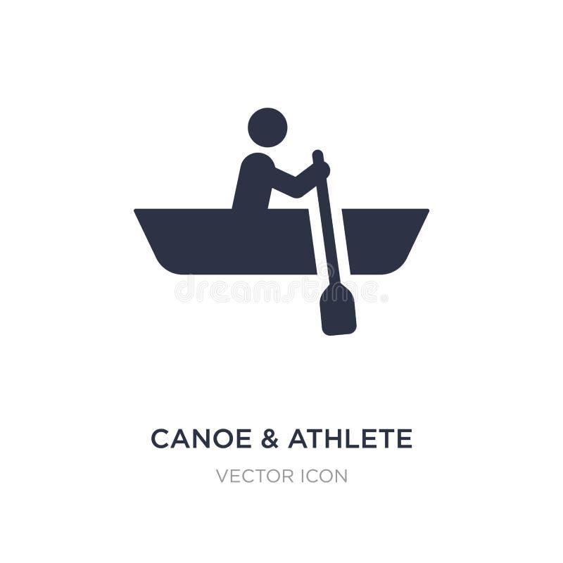 εικονίδιο κανό & αθλητών στο άσπρο υπόβαθρο Απλή απεικόνιση στοιχείων από την έννοια μεταφορών απεικόνιση αποθεμάτων