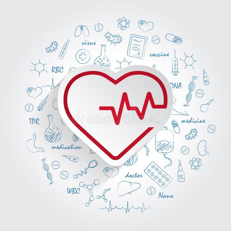 Εικονίδιο καρδιογραφημάτων γραμμών κτύπου της καρδιάς και handdrawn υπόβαθρο υγειονομικής περίθαλψης doodles διάνυσμα διανυσματική απεικόνιση