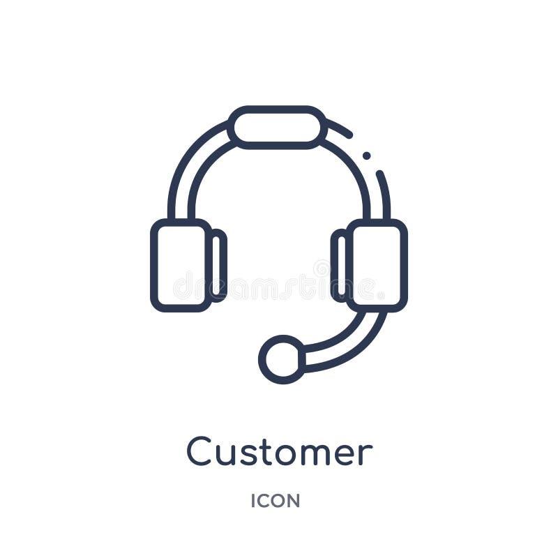 εικονίδιο κασκών εξυπηρέτησης πελατών από τη συλλογή περιλήψεων τεχνολογίας Λεπτό εικονίδιο κασκών εξυπηρέτησης πελατών γραμμών π ελεύθερη απεικόνιση δικαιώματος