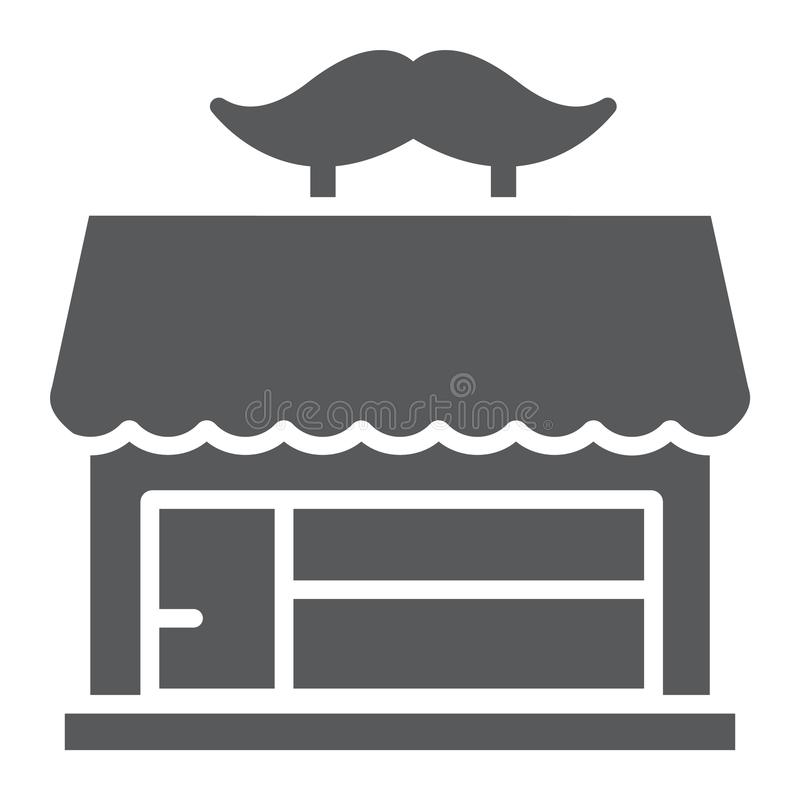 Εικονίδιο καταστημάτων κουρέων glyph, hairdressing και σπίτι, σημάδι οικοδόμησης, διανυσματική γραφική παράσταση, ένα στερεό σχέδ ελεύθερη απεικόνιση δικαιώματος