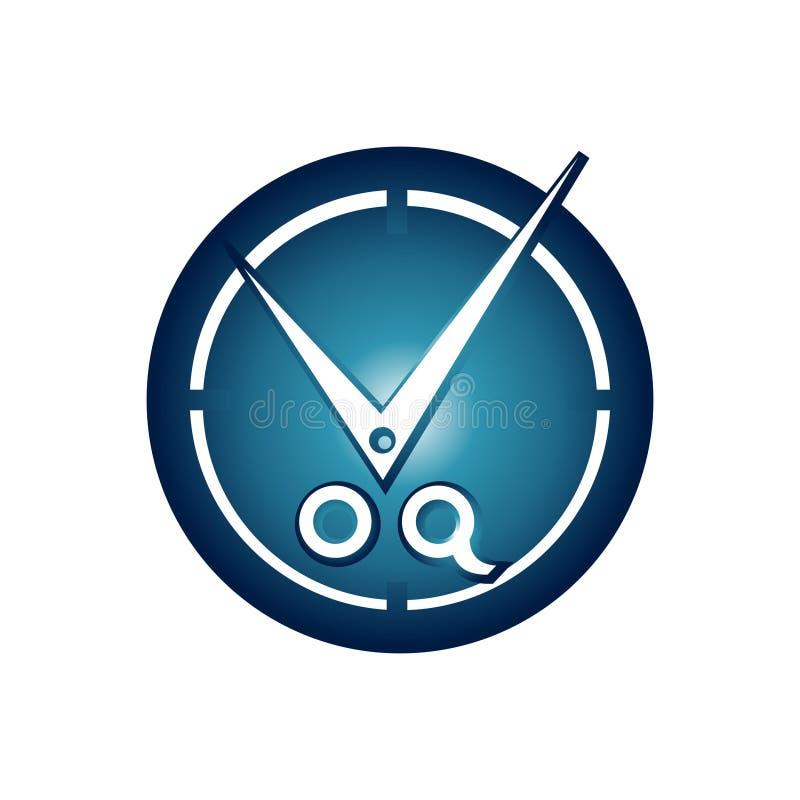 Εικονίδιο λογότυπων ψαλιδιού καταστημάτων κουρέων χρονικών ρολογιών περικοπών διανυσματική απεικόνιση