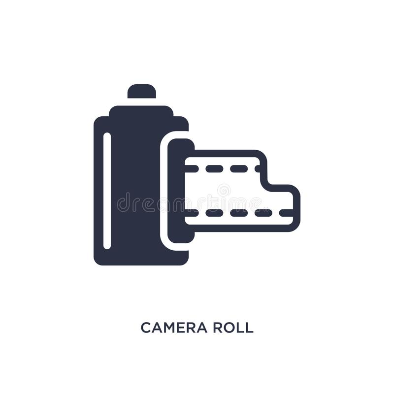 εικονίδιο ρόλων καμερών στο άσπρο υπόβαθρο Απλή απεικόνιση στοιχείων από την έννοια κινηματογράφων ελεύθερη απεικόνιση δικαιώματος