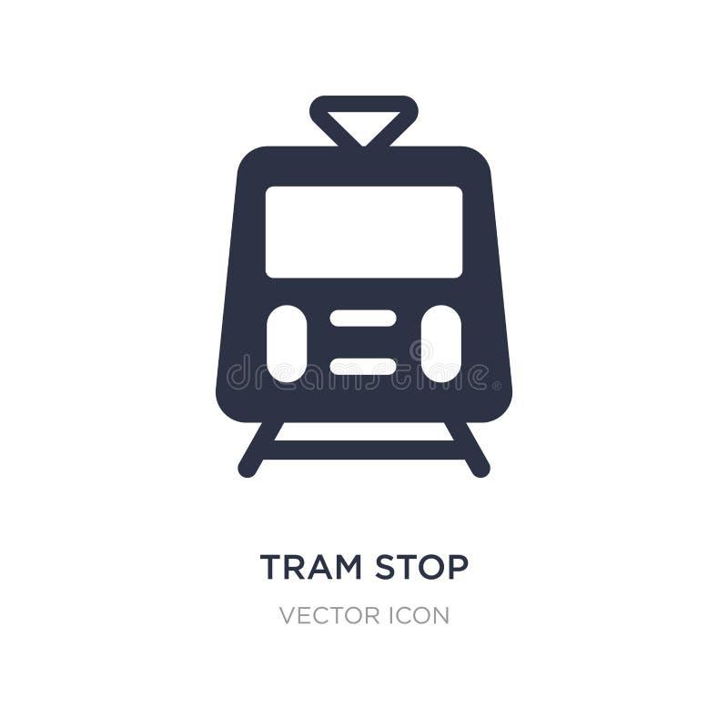 εικονίδιο στάσεων τραμ στο άσπρο υπόβαθρο Απλή απεικόνιση στοιχείων από την έννοια μεταφορών απεικόνιση αποθεμάτων