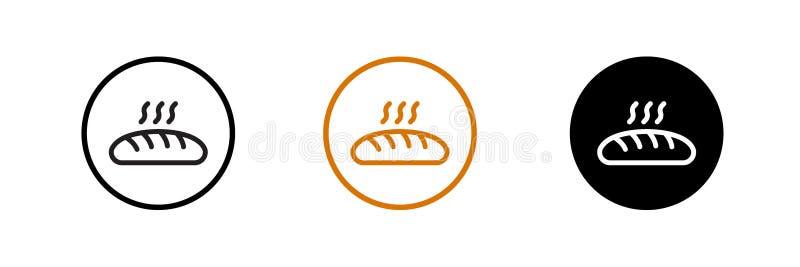 Εικονίδιο ψωμιού, σύμβολο αρτοποιών Επίπεδο σχέδιο εικονιδίων ελεύθερη απεικόνιση δικαιώματος