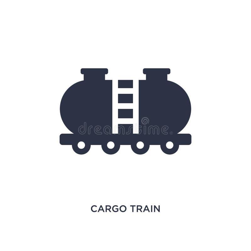 εικονίδιο τραίνων φορτίου στο άσπρο υπόβαθρο Απλή απεικόνιση στοιχείων από την έννοια παράδοσης και διοικητικών μεριμνών διανυσματική απεικόνιση