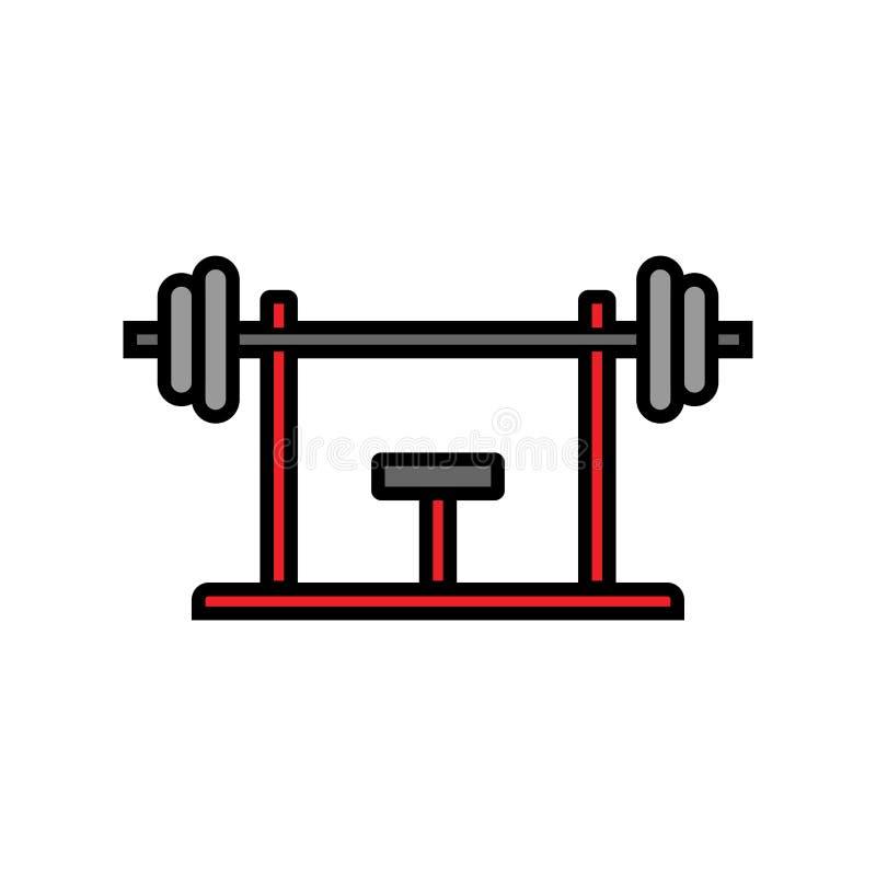 Εικονίδιο Τύπου πάγκων workout εξοπλισμός ικανότητας για την άσκηση θωρακικών μυών στη γυμναστική απλός γραφικός ελεύθερη απεικόνιση δικαιώματος