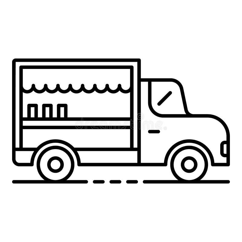 Εικονίδιο φορτηγών τροφίμων, ύφος περιλήψεων ελεύθερη απεικόνιση δικαιώματος
