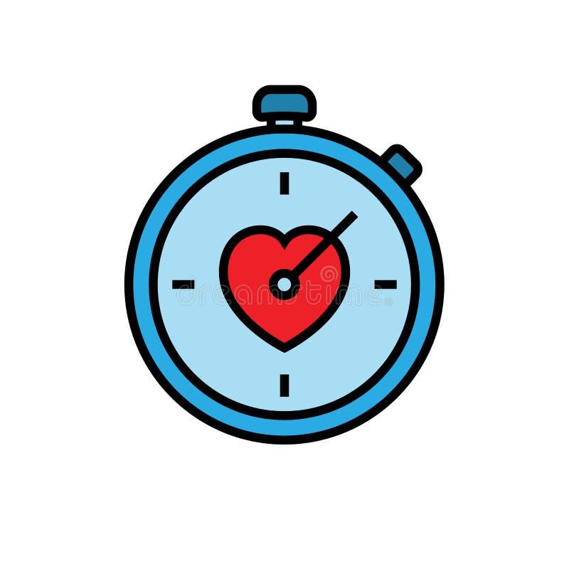 Εικονίδιο χρονομέτρων με διακόπτη Workout χρονόμετρο με διακόπτη με το σύμβολο αγάπης απλός γραφικός διανυσματική απεικόνιση