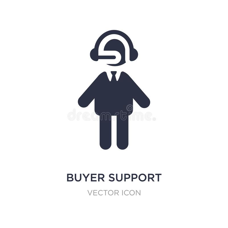 εικονίδιο υποστήριξης αγοραστών στο άσπρο υπόβαθρο Απλή απεικόνιση στοιχείων από την έννοια ανθρώπων διανυσματική απεικόνιση