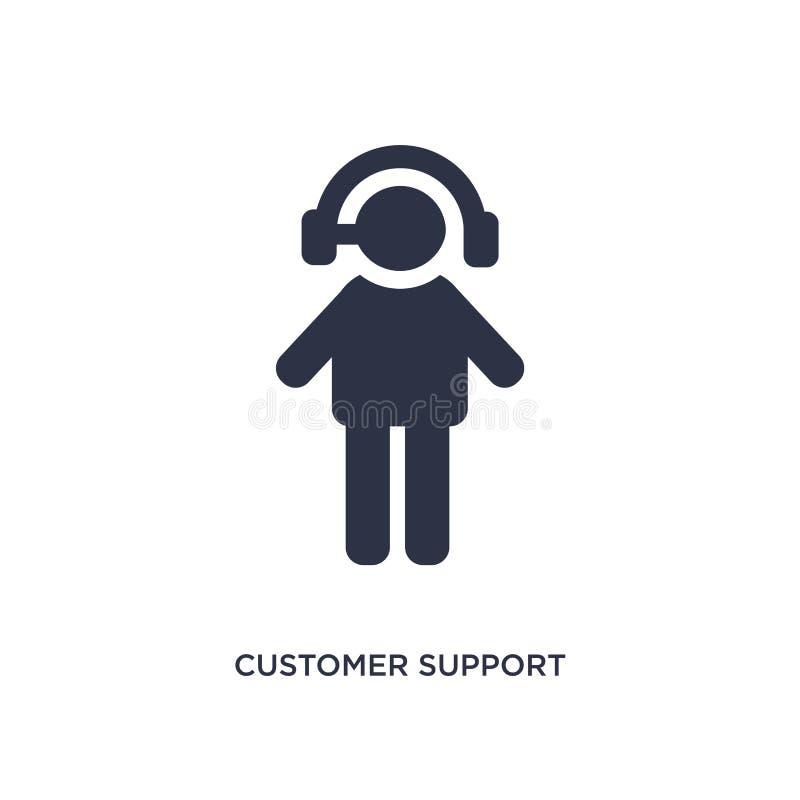 Εικονίδιο υποστήριξης πελατών στο άσπρο υπόβαθρο Απλή απεικόνιση στοιχείων από την έννοια συσκευασίας και παράδοσης ελεύθερη απεικόνιση δικαιώματος